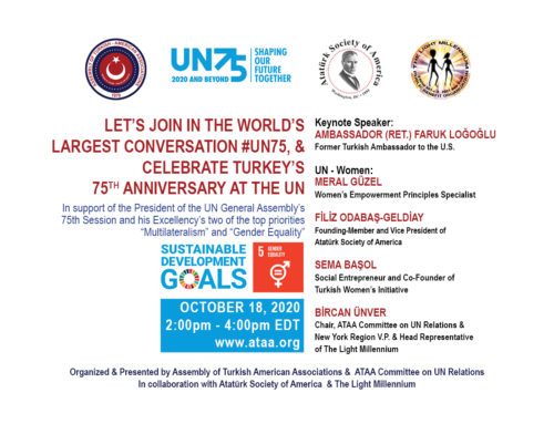 ATAA Webinar: Let's Celebrate Turkey's 75th Anniversary at the UN, Sunday, Oct. 18, 2pm EDT